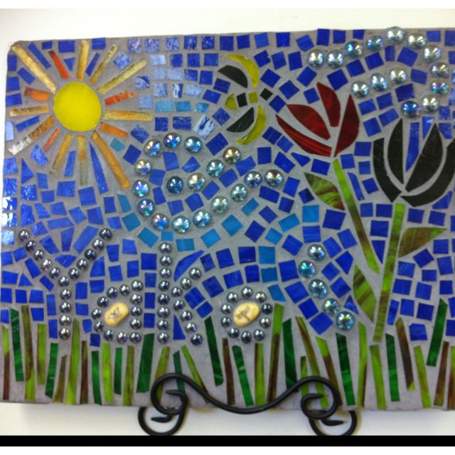 DIY stained glass and grout mosaic wall art.