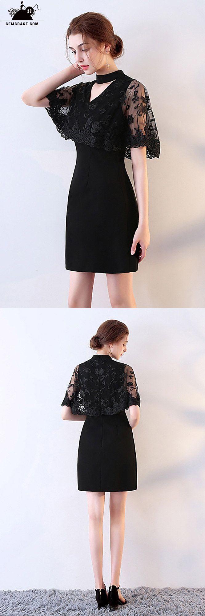 ef3e6ce1419 Little Black Lace Cocktail Party Dress with Cape  MXL86019 ...