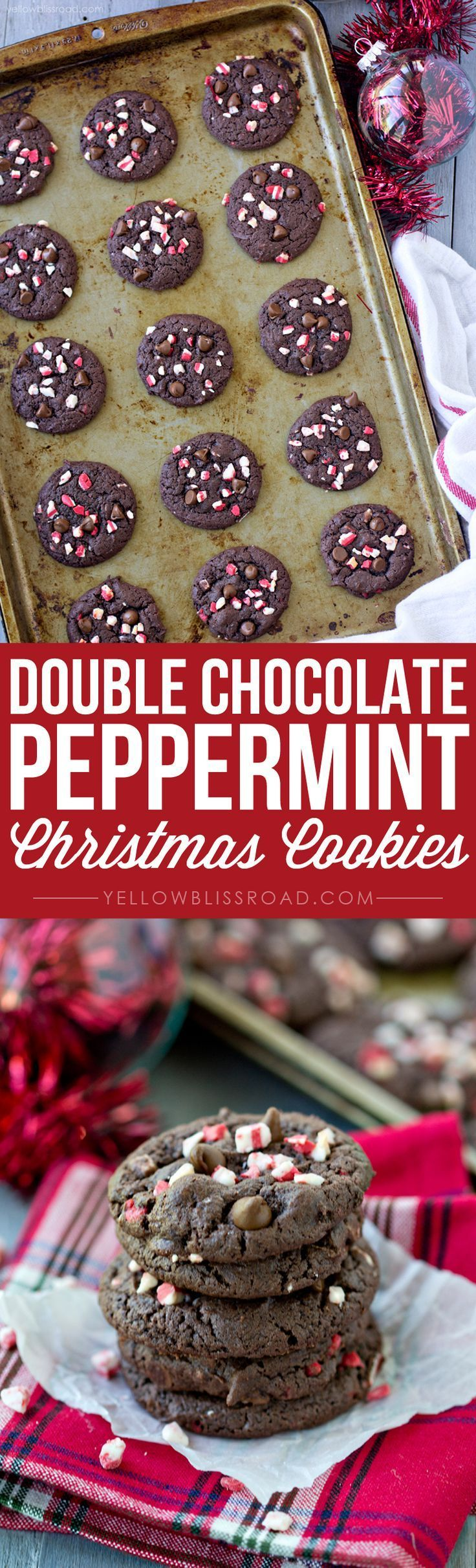 5 Ingredient Double Chocolate Peppermint Cookies