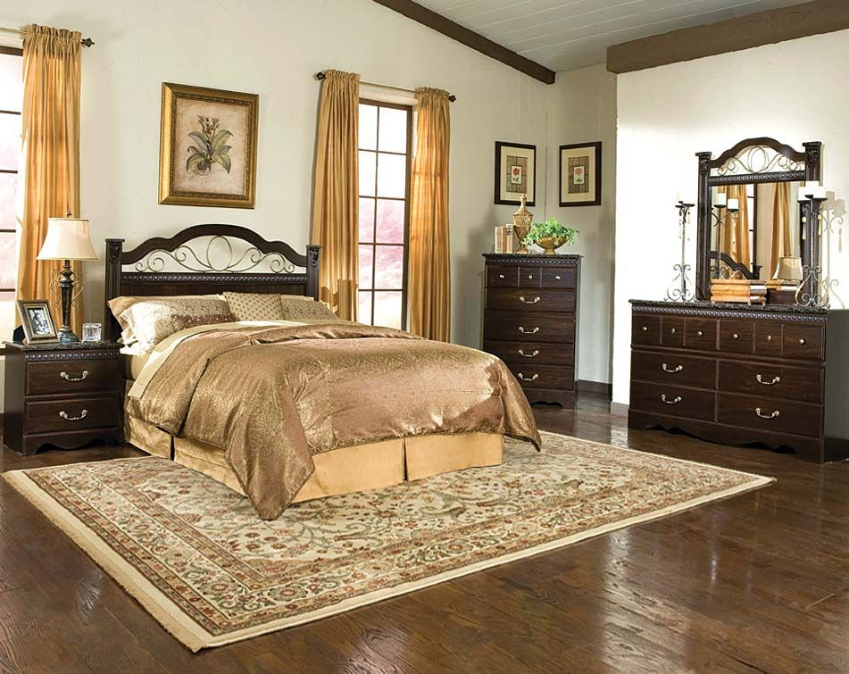 Dark Brown Set with Marble, and Brass | Sorrento Panel Bedroom Set ...