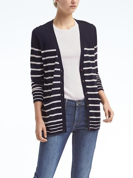 d5c4397e26  65.99 - Machine Washable Merino Stripe Boyfriend Cardigan -Our  high-quality merino wool is comfortable