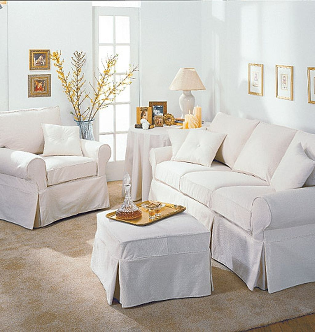 25 White Slip Covered Sofa Ideas to Makes Your Room More Comfortable ...