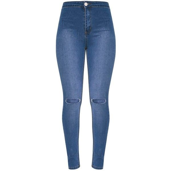 Kylie Mid Wash Knee Rip High Waisted Skinny Jean (€1,99) ❤ liked on Polyvore featuring jeans, pants, bottoms, calça, blue ripped skinny jeans, high-waisted skinny jeans, high waisted skinny jeans, high rise skinny jeans and blue jeans