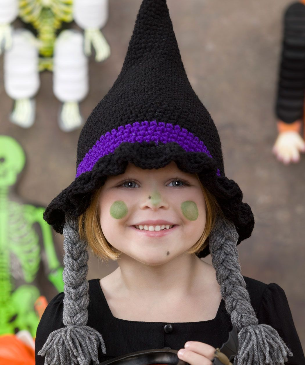 Bewitching hat free pattern halloween witch hat with braids free crochet patterns provide some great costume ideas for halloween dress up your grandchild in this cute witch hat complete with crochet hair bankloansurffo Image collections