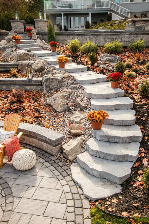 This Set Of Clean Stone Steps Is Bright And Beautiful This Landscape Uses Rock Gardens Stone Patios And Steps Fall Outdoor Decor Landscape Pavers Stone Step