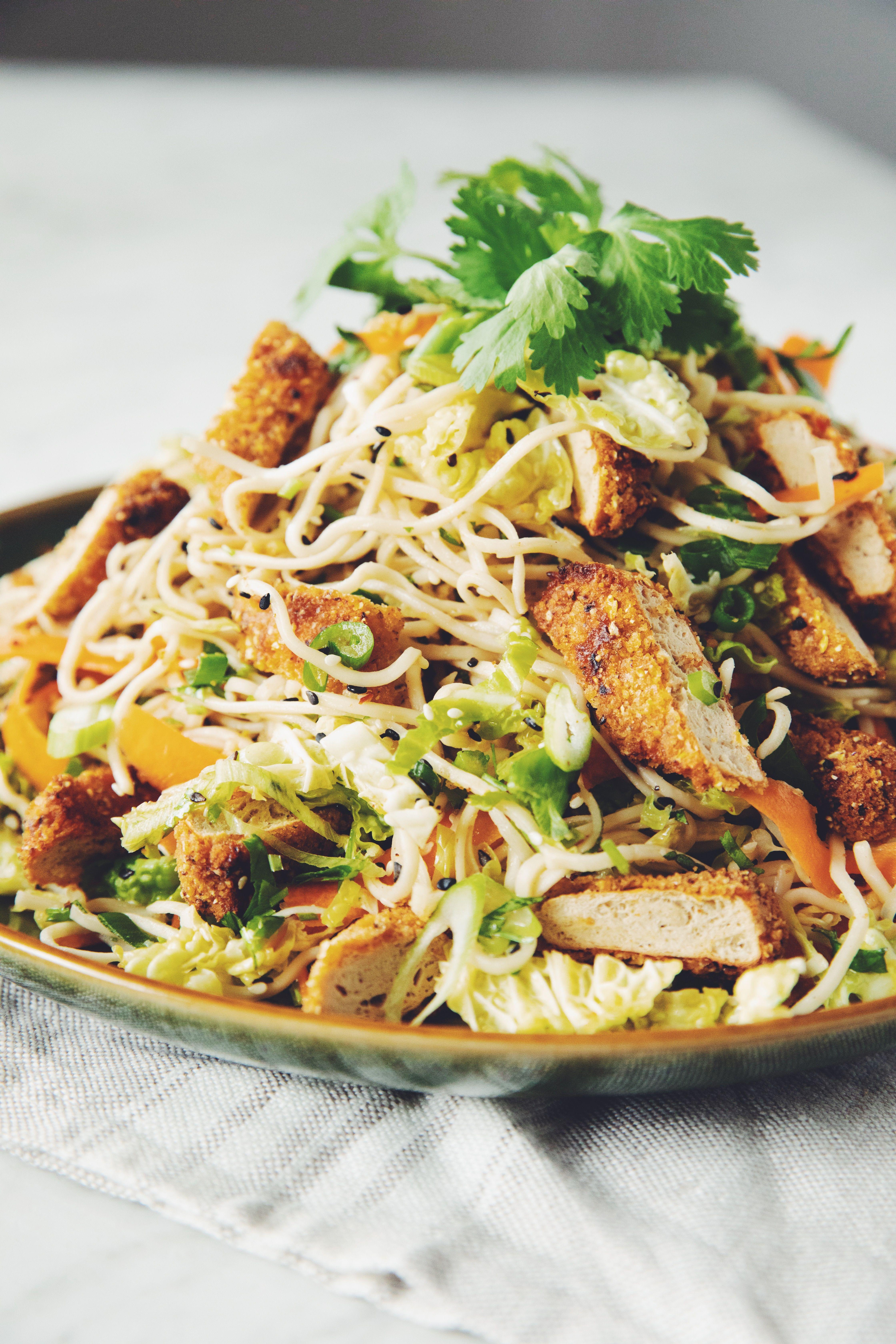 Vegan Crispy Chicken Asian Noodle Salad Recipe Asian Noodle Salad Crispy Chicken Asian