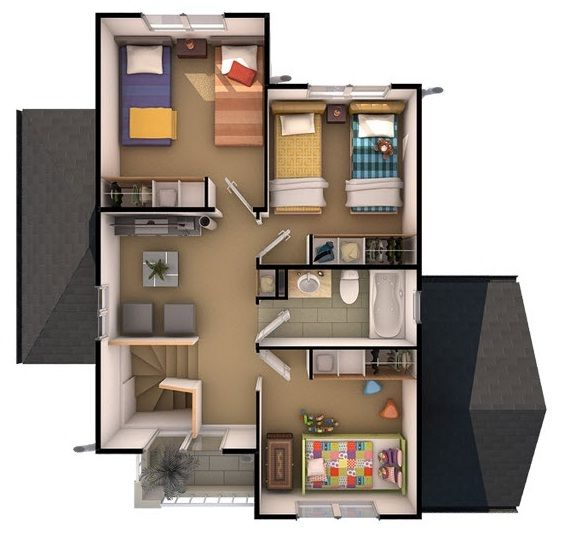 Plano de atractiva casa de dos pisos 110 m2 casas for Como hacer mi casa en 3d