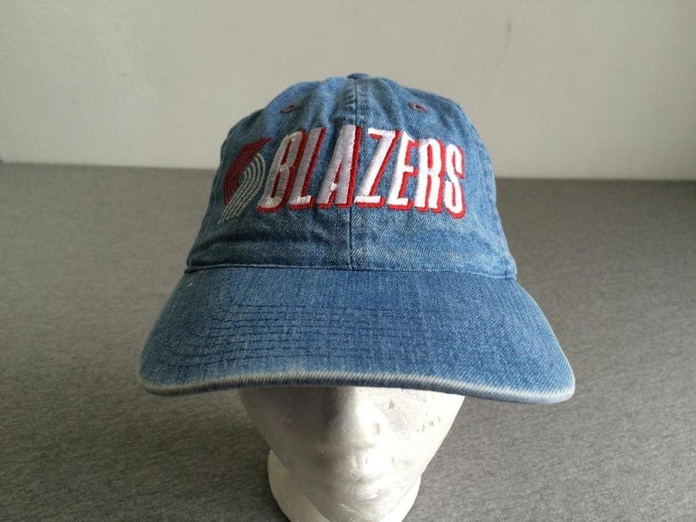 27974cf6625 BLAZERS Hat Denim RARE 90s Rip City Adjustable Portland NBA Cap Baseball  Trail