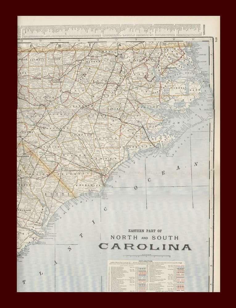 North South Carolina Large Detailed Map Original 1901