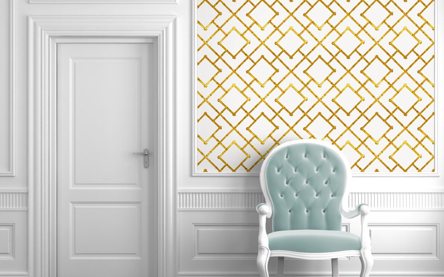 Gold Bamboo Trellis Repositionable Peel N Stick Wallpaper Custom Sizes And Colors By Wallpaperie