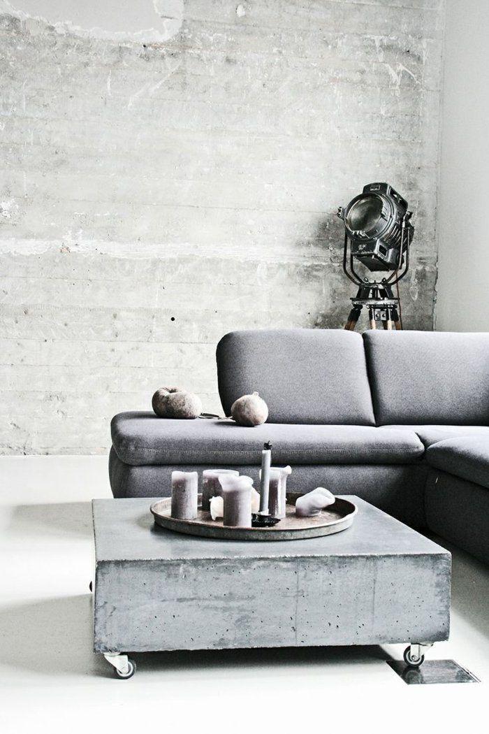 wohnzimmerideen wandgestaltung beton graues sofa cooler couchtisch - wohnideen wandputz wohnzimmer