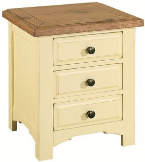 Savannah Country Cream Painted Wooden Bedside Table With Three Drawers And Oak Top