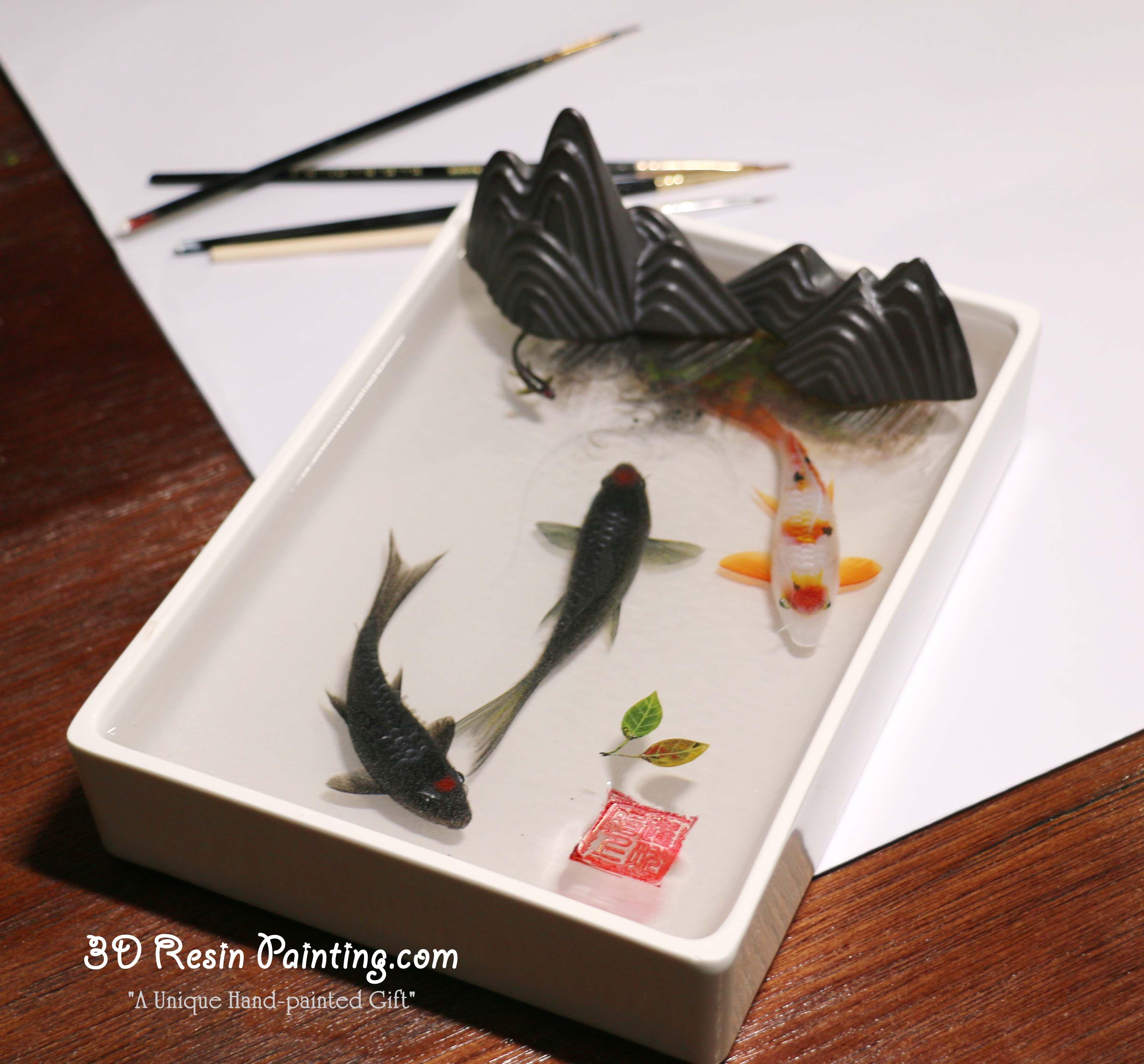 Oriental art 3d resin art for sale pen holder display