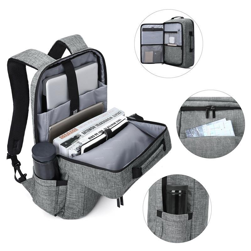 15 6 Laptop Backpack Convertible Briefcase 2 In 1 Business Travel Luggage Carrier