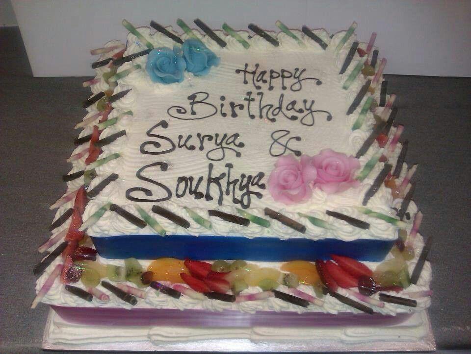 Happy Birthday Surya Soukhya Sheet Cake Buttercream Fondant Cake