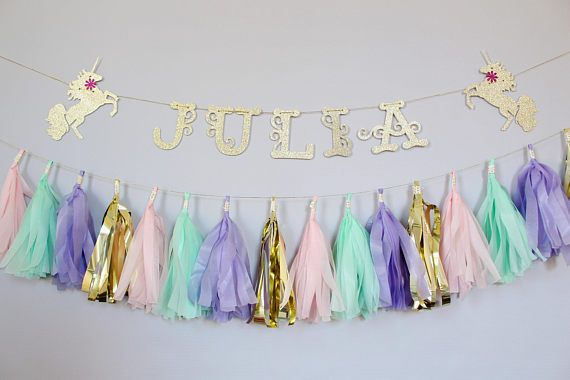 A personalized touch to a tassel Garland, this wall decoration will make your party oh so special! This Garland is made from high quality tissue paper, gold foil Washi tape, gold twine, and glitter cardstock cut out letters. This item comes with: - 12-20 tassels depending on the option