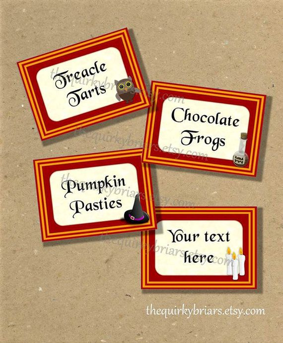 picture regarding Harry Potter Decorations Printable named Harry Potter Influenced / Gryffindor Hues / Blank Meals Label
