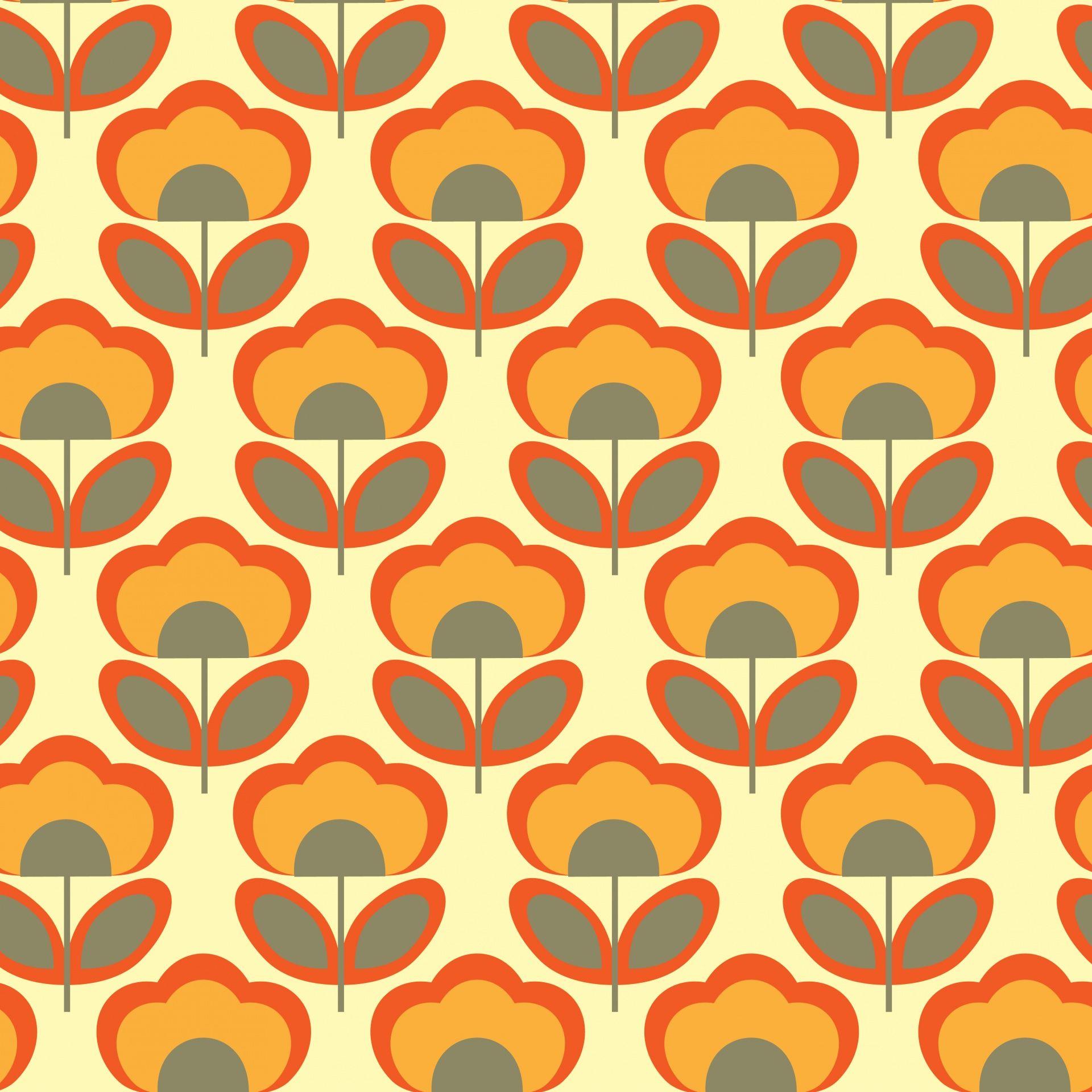 Floral Retro 70s Wallpaper Retro Wallpaper Retro Prints Retro Pattern
