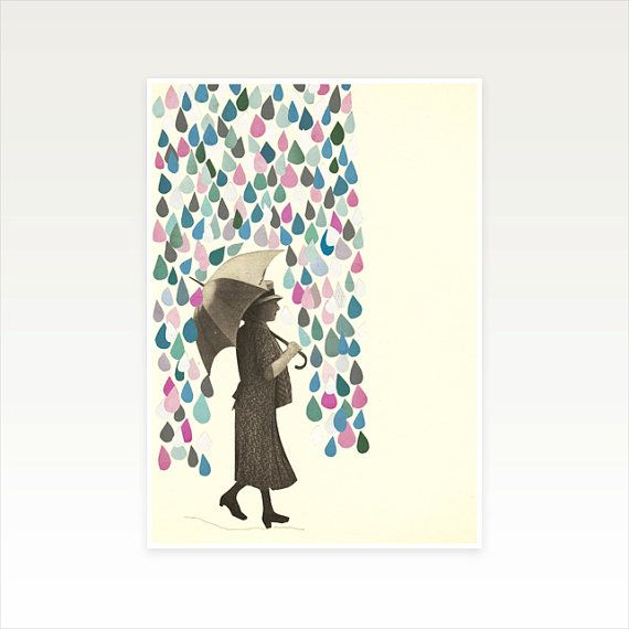 Raindrop Print Weather Art Female Figure  by CassiaBeckCollage