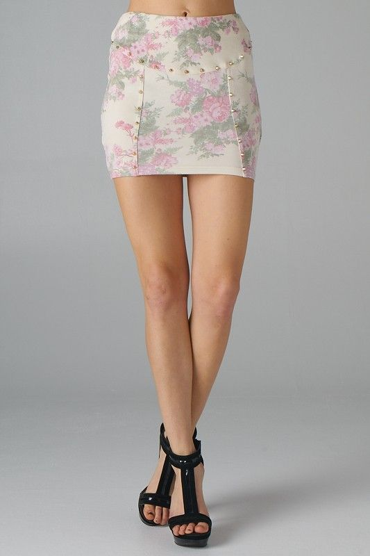 Floral Print Mini Skirt with Flat Studs (Beige) - Front