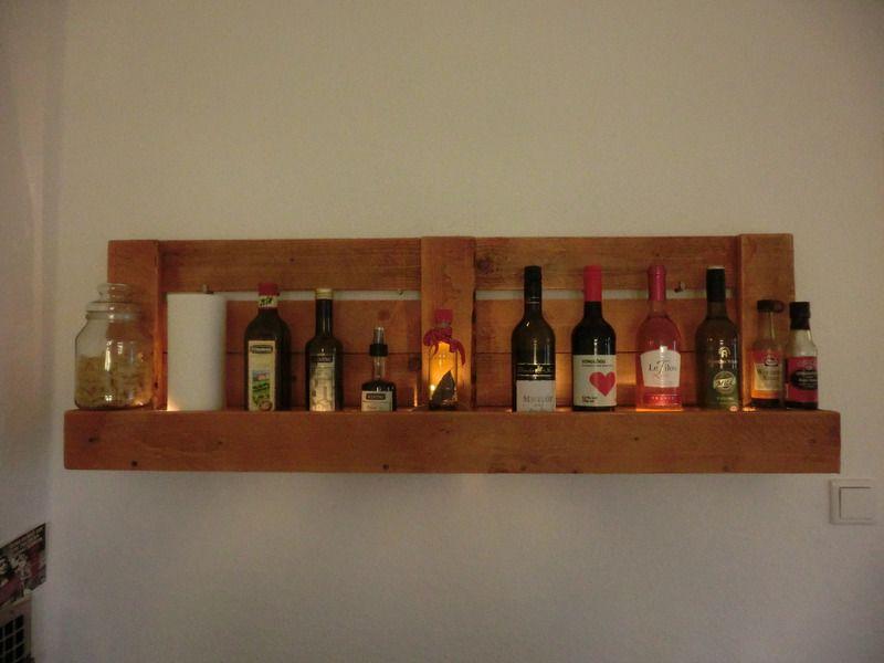 Küchenregal / Weinregal mit LED-Beleuchtung von Shabby ...