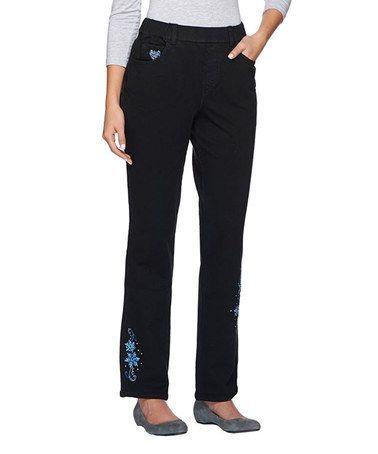 Look at this #zulilyfind! Black DreamJeannes Snowflake Straight Leg Pants - Plus Too #zulilyfinds