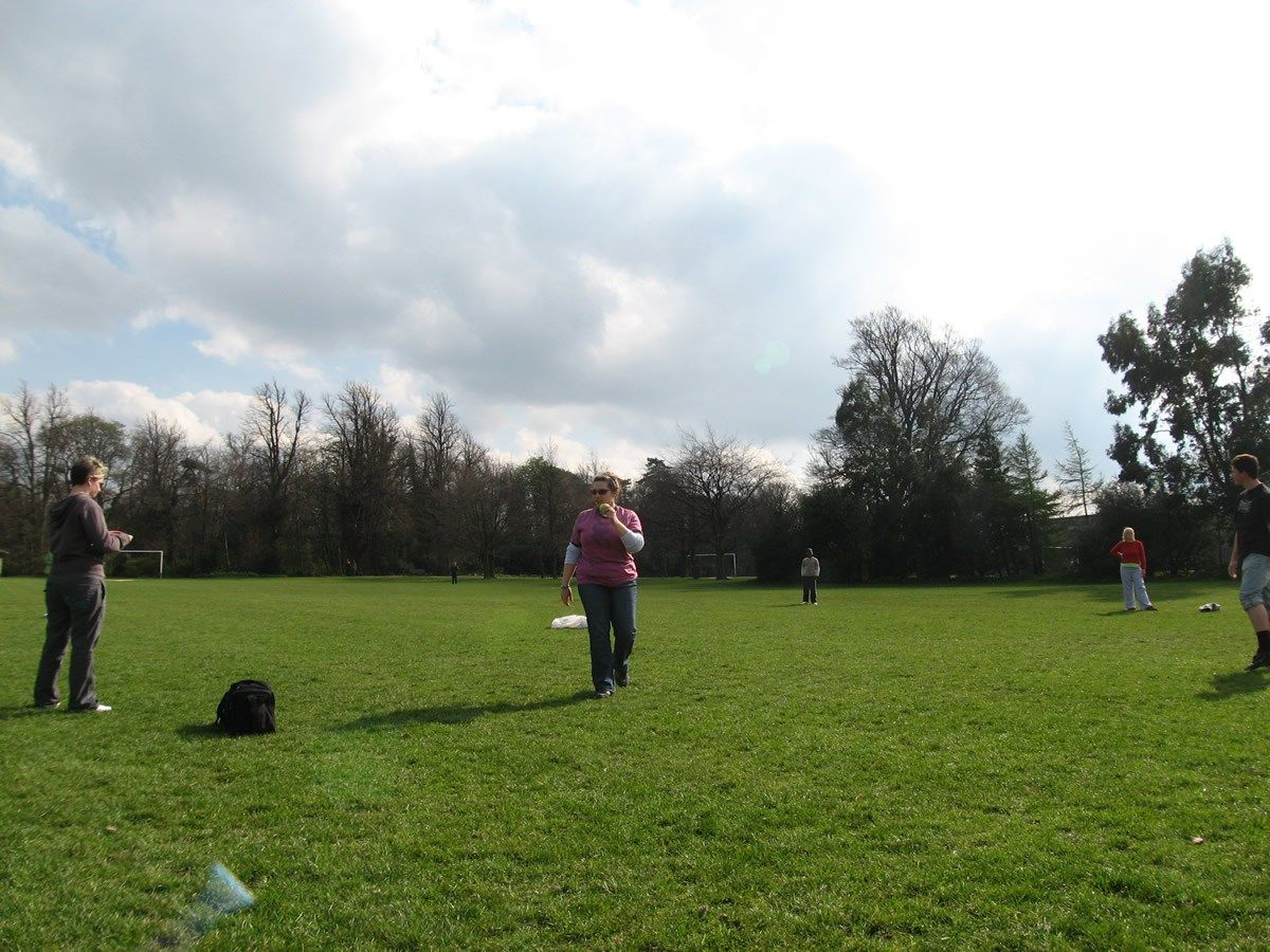 Playing Rounders in Killinardan Park, Whitestown, Dublin, Ireland (I think)
