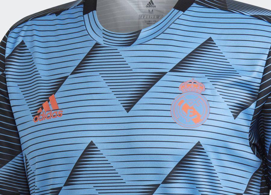 Adidas Real Madrid 2019 20 Pre Match Jersey Real Blue Black Football Tops Real Madrid Football Shirts
