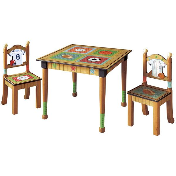 Teamson Fantasy Fields Lil Sports Fan 3 Piece Kid S Table Set Kids Table And Chairs Kids Table Chair Set Kids Wooden Table
