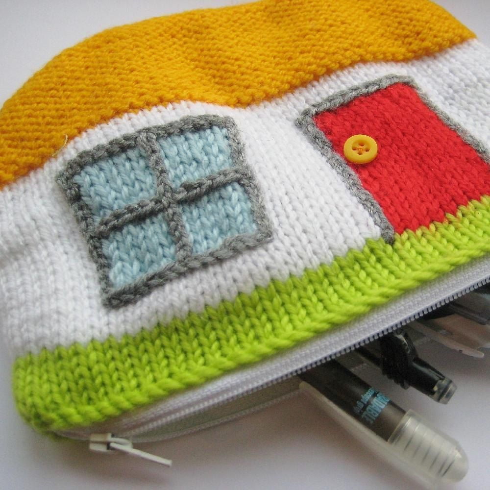 FREE knitting pattern for caravan pencil case by Amanda Berry. The ...
