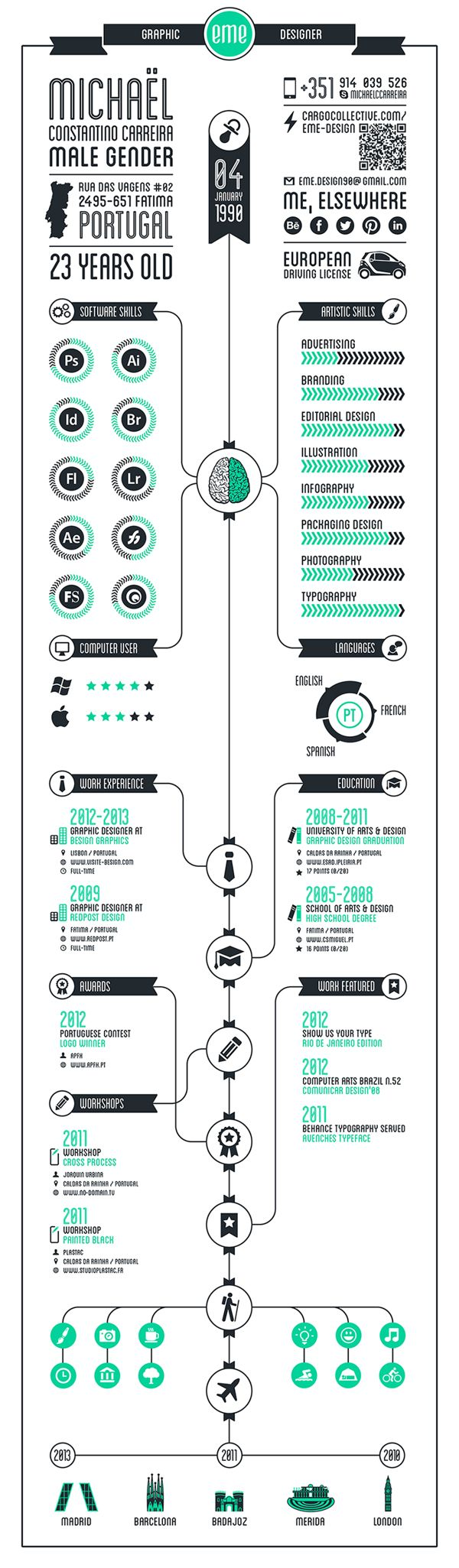 infography cv by eme design  via behance