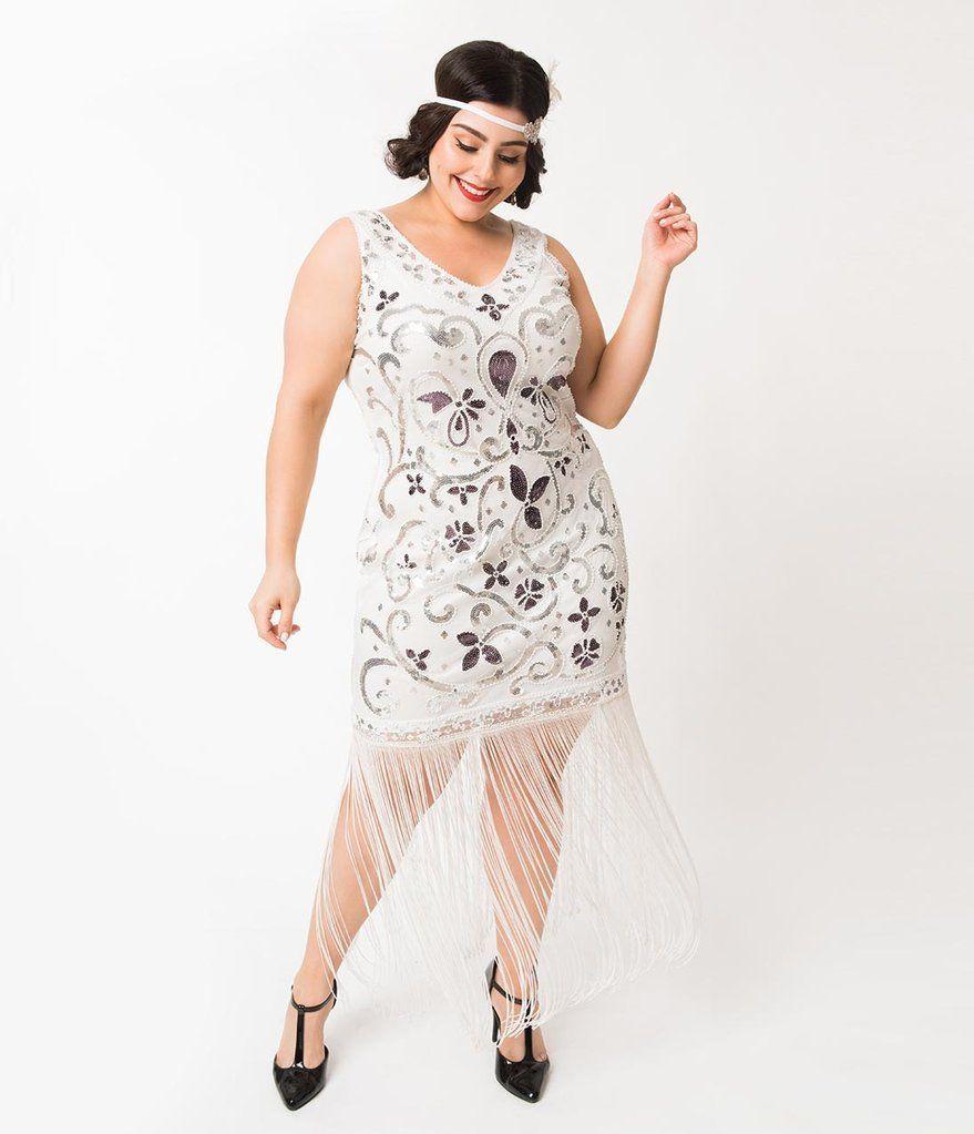 Unique Vintage Plus Size White Silver Sequin St Michel Fringe Flapper Dress Wedding Dresses Unique Unique Dresses Fringe Flapper Dress [ 1023 x 879 Pixel ]