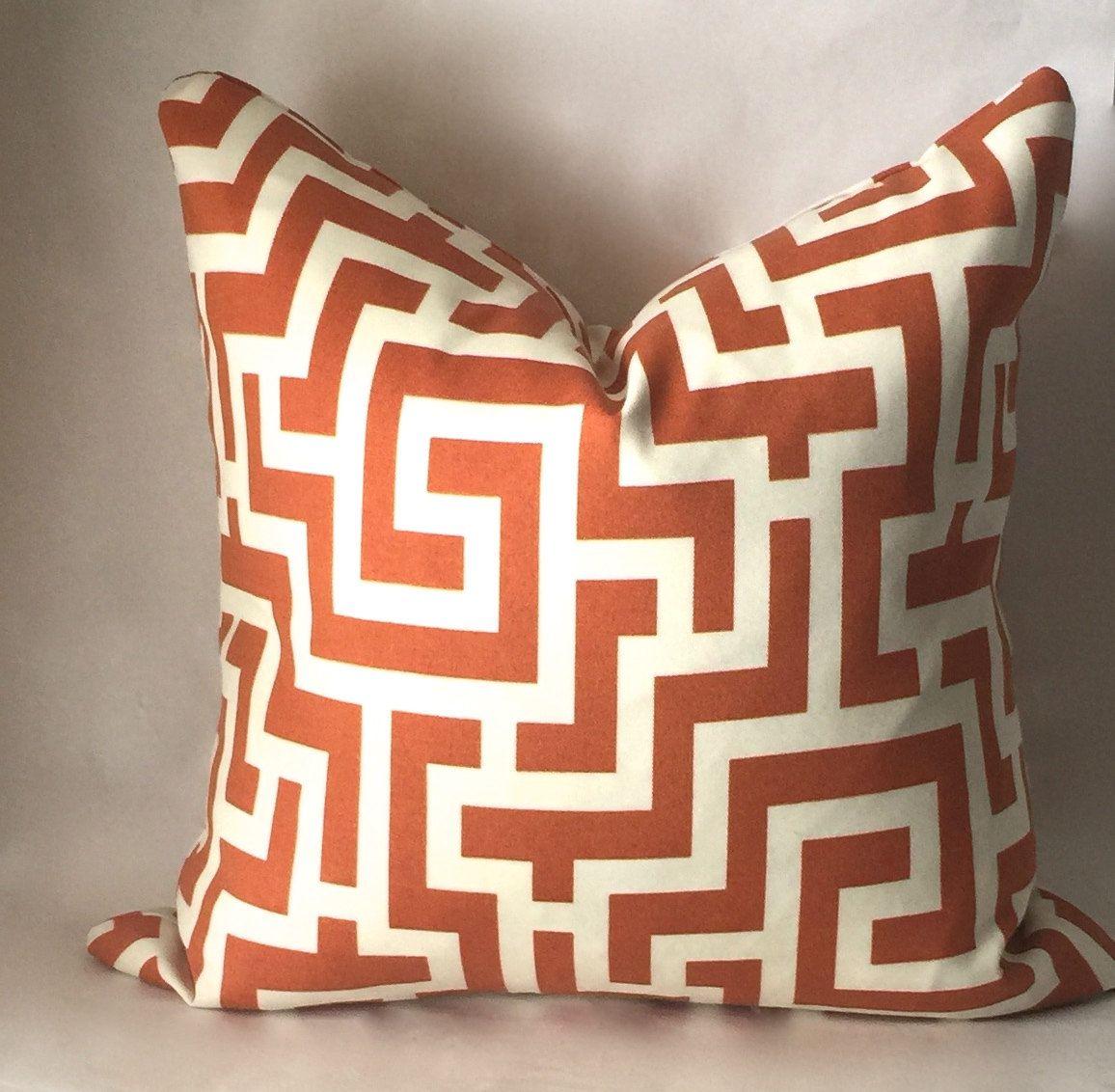 Outdoor Burnt Orange Throw Pillow Greek Key Outdoor Pillow Cover