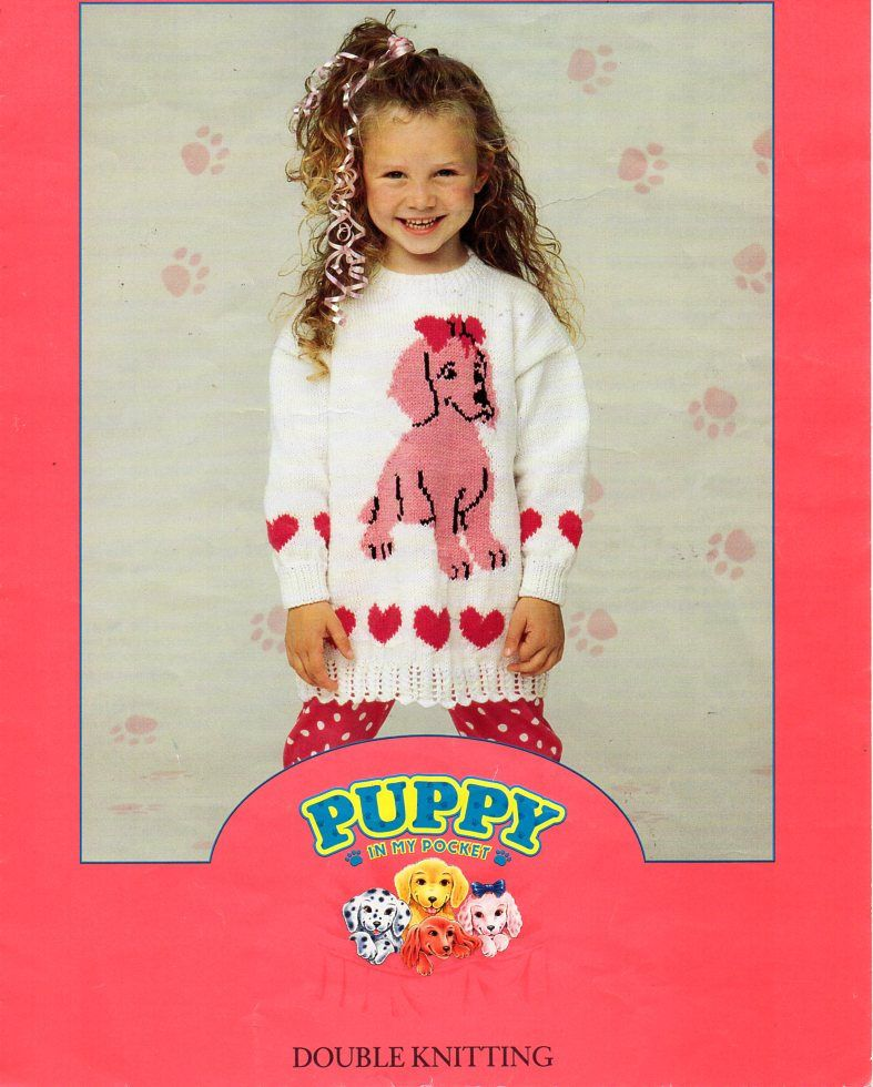 """girls puppy sweater knitting pattern pdf DK childrens dog heart motif jumper tunic 22-28"""" DK light worsted 8ply pdf instant download by Minihobo on Etsy"""