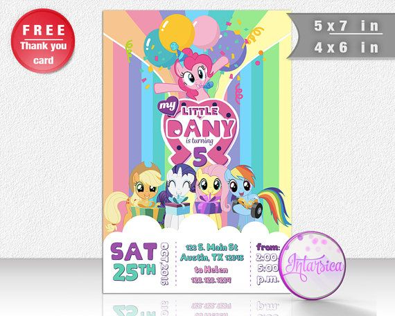 He encontrado este interesante anuncio de Etsy en https://www.etsy.com/es/listing/401080381/my-little-pony-invitacion-personalizada