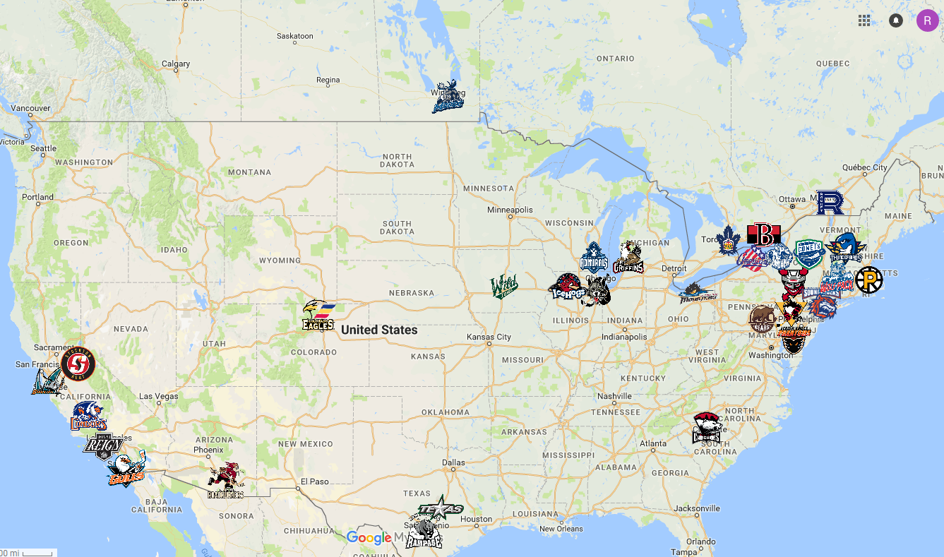 AHL Map | Hockey | Sports logo, American hockey league, Team