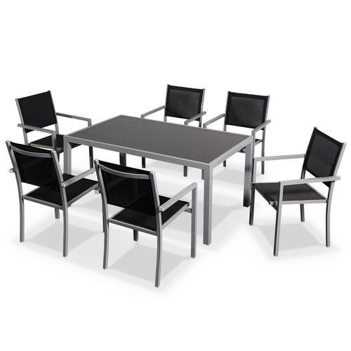 INDUS Salon de jardin Capua en aluminium table 150cm, 6 fauteuils ...