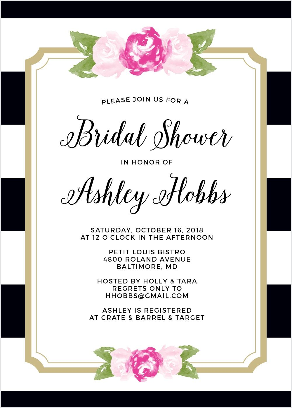 Floral Stripe Bridal Shower Invitations Floral Stripe Shower