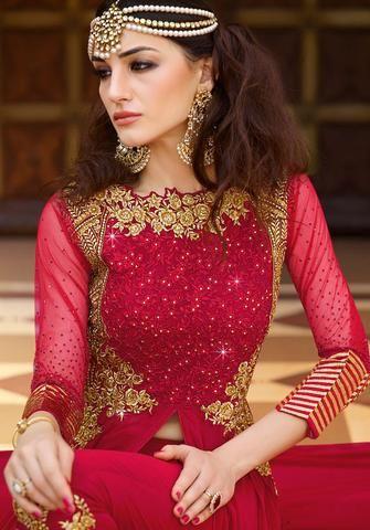 d91e80d436 Anarkali Style Red Color with Crystals Stones Work Salwar Kameez ,Indian  Dresses - 2