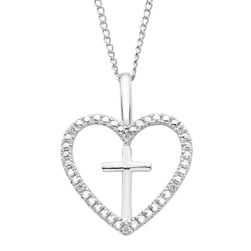 Kohlus sterling silver diamond accent cross u heart pendant necklace