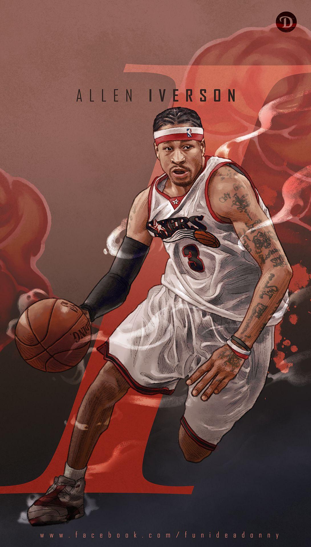 Allen Iverson Nba Basketball Art Basketball Art Allen Iverson