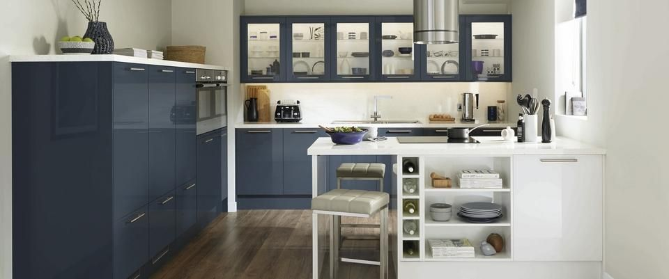 Greenwich gloss navy i like the glass cabinets and could for Kitchen cabinets 600mm