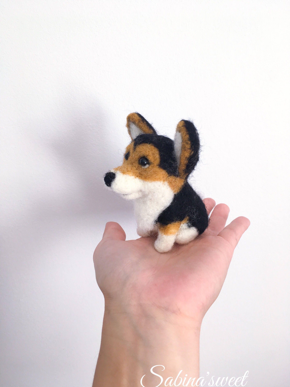 Custom Welsh Corgi Dog Toy Felted Dog Welsh Corgi Dog Gift Felt
