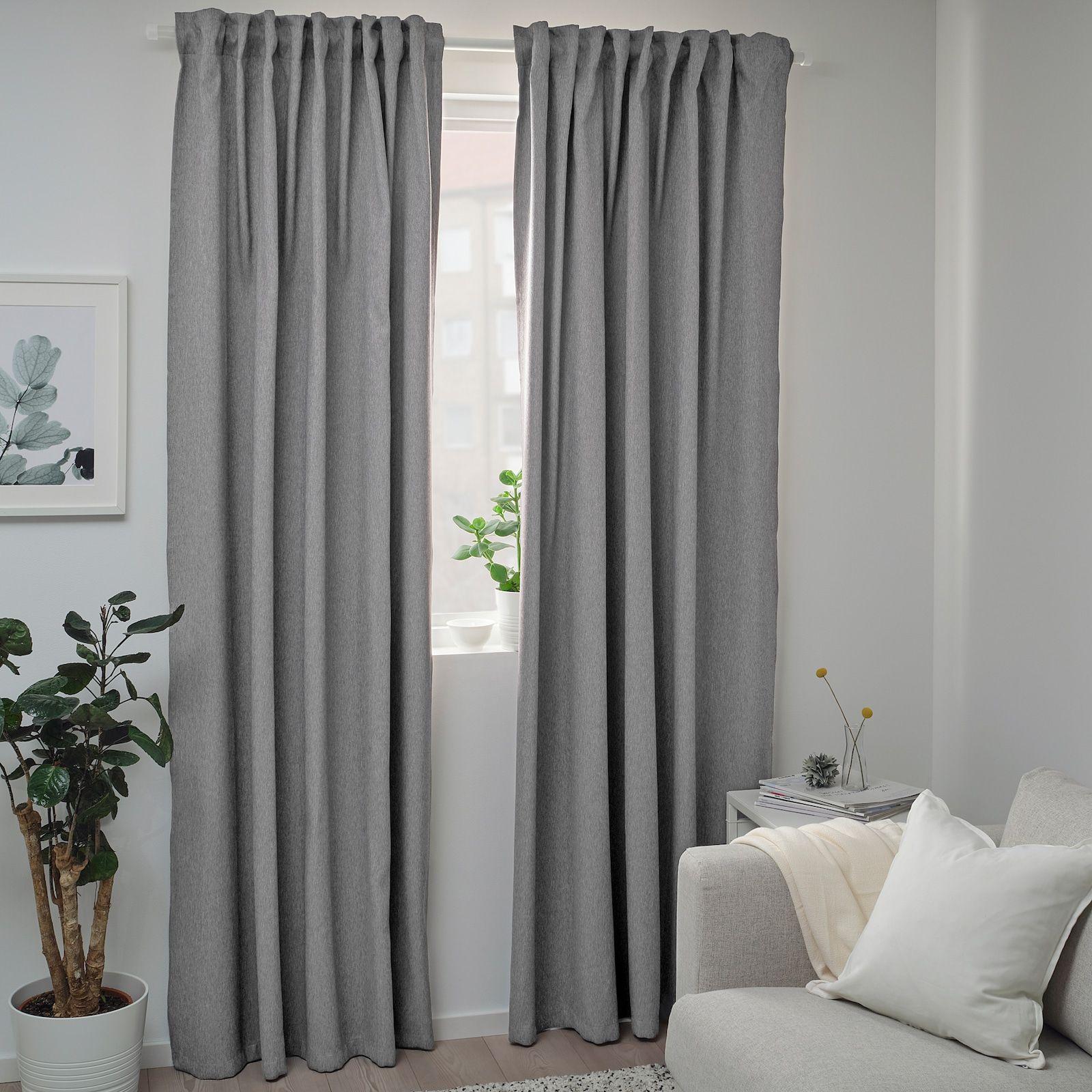 Blåhuva Room Darkening Curtains 1 Pair Light Gray 57x98