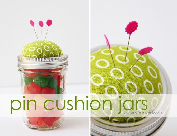Christmas gifts - DIY Pin Cushion Jars  sc 1 st  Pinterest & Pin Cushion Jars: Homemade Christmas Gifts | Pin cushions Jar and Craft