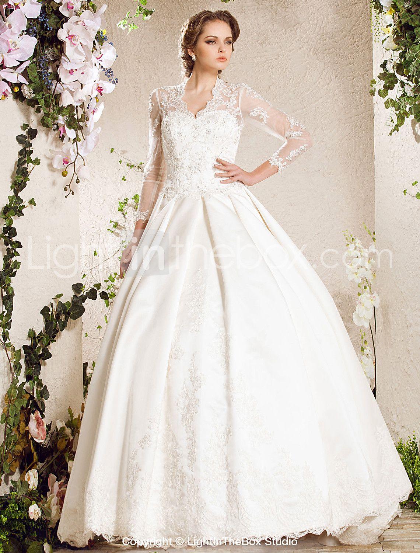 Aline Sweetheart Chapel Train Lace Satin Wedding Dress