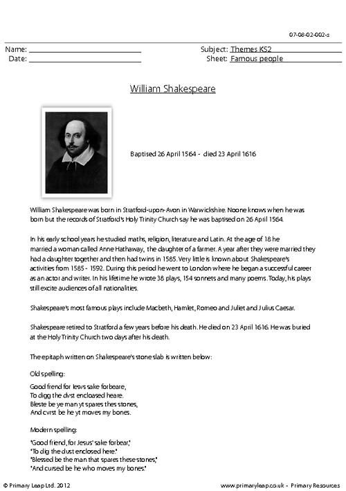 Primaryleap Co Uk William Shakespeare Comprehension Worksheet