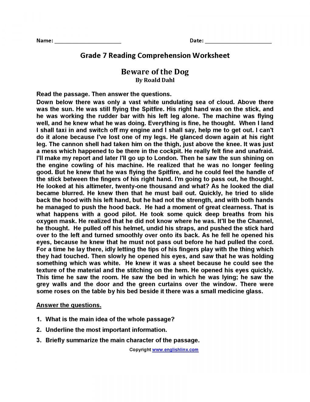 12 7Th Grade Reading Main Ideas Worksheet - Reading | 7th ...