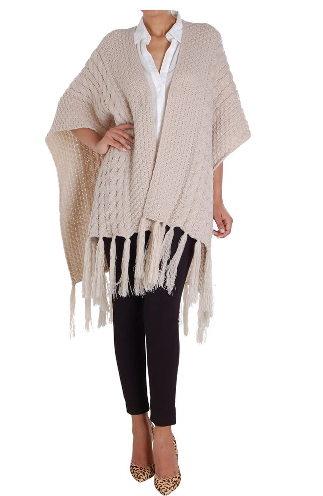Cable Knit Poncho Oversized Open Front Sweater Scarf Cape Shawl