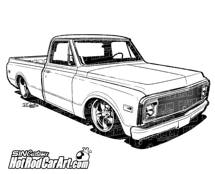1970 Chevrolet C10 Truck - Clip Art | Cars, C10 trucks and Trucks